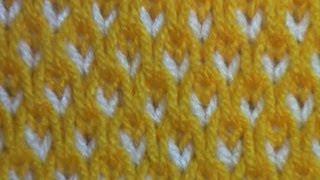 """getlinkyoutube.com-Узор """"Настил"""". Соты спицами двухцветные. Вязание."""