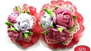 getlinkyoutube.com-МК очень простых и красивых розочек из фоамирана. Канзаши и цветы из лент. DIY rose from foam sheets