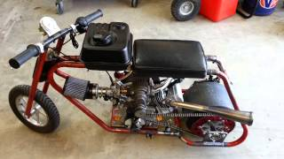 getlinkyoutube.com-Roots Supercharged Mini Drag Bike Startup/Rev