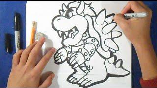 """getlinkyoutube.com-Cómo dibujar al Dragon """"Bowser"""" - PAPER MARIO!"""