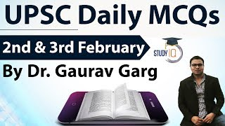 UPSC Daily MCQs on Current Affairs - 2nd + 3rd February 2018 - for UPSC CSE/ IAS Preparation Prelims