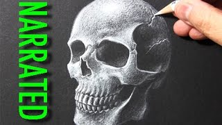 getlinkyoutube.com-How to Draw a Skull [White Pencil on Black Paper]