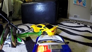 getlinkyoutube.com-RC Ford Mustang VS RC Helicopter POLICE CHASE Action! Toy Cars!