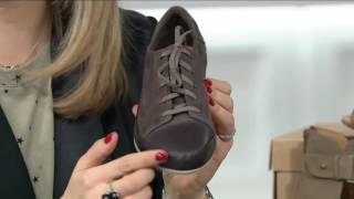 getlinkyoutube.com-Clarks Leather Lace-up Sneakers - Lorry Grace on QVC