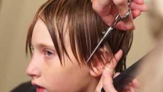 getlinkyoutube.com-Boys Medium Length Side Swept Hair Cut Done 95% with a Razor