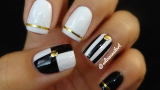 getlinkyoutube.com-Black & White Nail Art & Nail Art Tape | Selina's Nail Art
