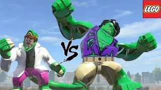 getlinkyoutube.com-Hulk (Transformation) Vs Curt Connors Transformation Lizard - Lego Marvel Super Heroes Game