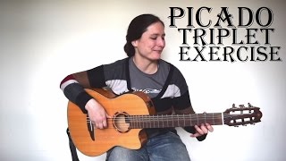 Intermediate Picado Triplet Exercise (with free TAB) Spanish Guitar Lesson - The metronome sessions
