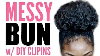 getlinkyoutube.com-High Messy Bun Tutorial for Natural Hair w/ DIY Clip Ins