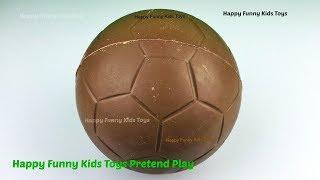 getlinkyoutube.com-Chocolate Football Egg Surprise Toys Disney Princess Fashems Ariel Cinderella Shopkins Barbie