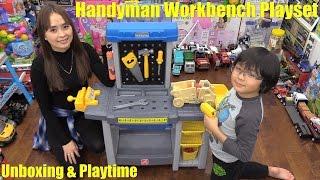 getlinkyoutube.com-Tools Playset. Kids' Pretend Handyman Workbench Playset Unboxing & Playtime Fun w/ Hulyan