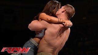 getlinkyoutube.com-John Cena and AJ Lee kiss after Cena's victory over Dolph Ziggler: Raw, Nov. 26, 2012