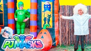getlinkyoutube.com-PJ MASKS Disney Gekko + Romeo + Luna Girl Hide N Go Seek Spooky Halloween Adventure Video