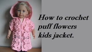 getlinkyoutube.com-how to crochet baby puff flower body warmer jacket coat tutorial