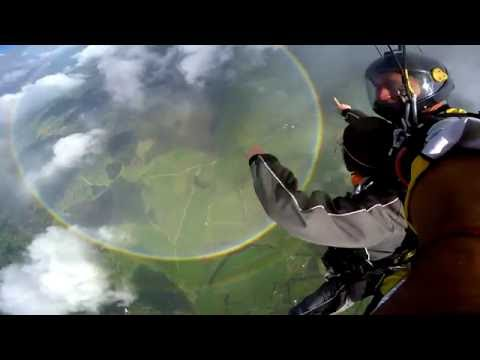 Skydiving above a double 360 rainbow!