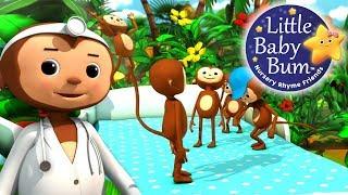 Five Little Monkeys Jumping On The Bed | Part 2 | Nursery Rhymes | by LittleBabyBum!