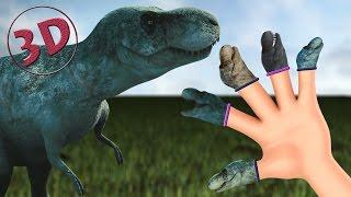 getlinkyoutube.com-Finger Family Dinosaurs 3D | T-Rex Daddy Finger Nursery Rhyme 3D