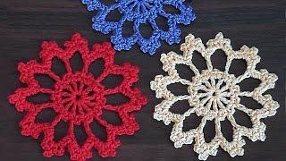 getlinkyoutube.com-Crochet motif. Tutorial. Large  necklace motif. Part 2.