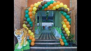 getlinkyoutube.com-Diy Balloon arch- arco de bolas - Arch espiral 4 color -Arco espiral - Tema Safári - Passo a passo