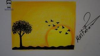 تعلم رسم منظر طبيعي مع الخطوات للمبتدئين البراعم والاطفال
