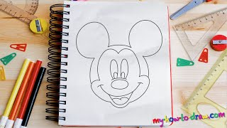 getlinkyoutube.com-How to draw Mickey Mouse - Easy step-by-step drawing lessons for kids