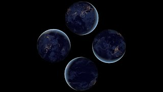 getlinkyoutube.com-Earth view from space at night - Pyramid Hologram Screen Up