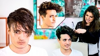 getlinkyoutube.com-Mens Hair Transformation   Straight to Curly Hairstyle