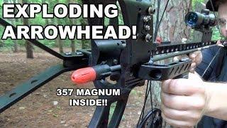 getlinkyoutube.com-Exploding Arrowhead! Bow Mag 357 Magnum