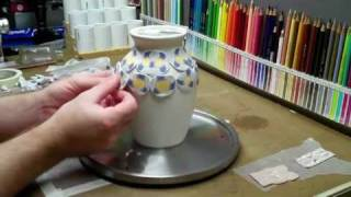 Polymer clay Vase, IT GLOWS!!