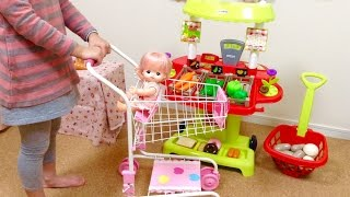 getlinkyoutube.com-メルちゃん ショッピングカートでお買い物ごっこ/Supermarket Fun! Mell-chan and the Shopping Cart Toy