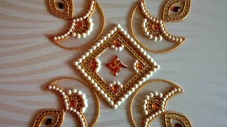 DIY - Kundan Diya Rangoli, How to make rearrangeable kundan rangoli for diwali