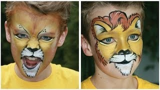 getlinkyoutube.com-Lion face painting tutorial (2 versions) - Lion makeup