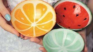 getlinkyoutube.com-DIY: Clay Fruit Bowls from Scratch - Watermelon, Orange, Lime