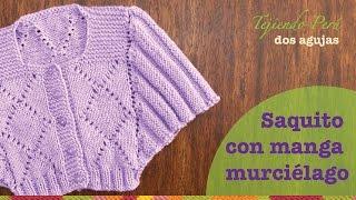 getlinkyoutube.com-Saco con manga murciélago tejido en dos agujas o palitos para niñas