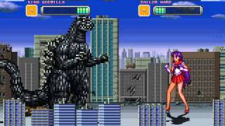 getlinkyoutube.com-Friend Request Mugen Fight One - Sailor Mars and King Godzilla