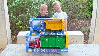 getlinkyoutube.com-Toy Truck Videos for Children - Toy Bruder Mack Garbage Truck and Dump Truck for Kids
