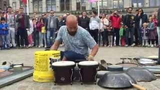 getlinkyoutube.com-Incredible drummer in Amsterdam © #trash  rave techno Dario Rossi Drummer