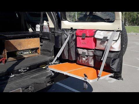 Панель MOLLE на задней двери Nissan Patrol Y61. Навесной столик и подсумки