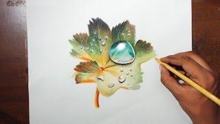 getlinkyoutube.com-Drawing Water drops on a leaf - Prismacolor pencils