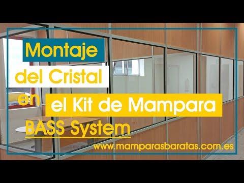 Montaje de cristal en una Mampara Divisoria con el Kit de tabique BASS System