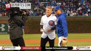 Bastian Schweinsteiger throw first pitch Chicago Cubs Wrigley Field