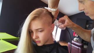Girl shaves one side of her hair