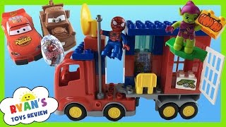 getlinkyoutube.com-Lego Duplo Marvel Spiderman Super Heroes Spider Truck Adventure Disney Cars Toys  Egg Surprise