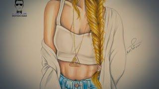 getlinkyoutube.com-تعلم رسم جسم فتاة مع تسريحة شعر مميزة (ظفيرة)