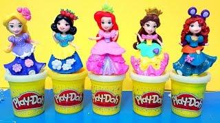 getlinkyoutube.com-NEW Sparkle Play Doh dresses Disney Little Kingdom princess dolls Magiclip doll playdough