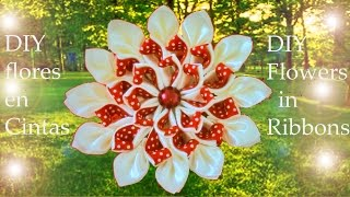 getlinkyoutube.com-DIY kanzashi flores destellos de hielo y fuego-DIY flowers kanzashi sparkles of Ice & Fire