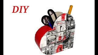 getlinkyoutube.com-Organizador de lapices hecho con cartón! DIY
