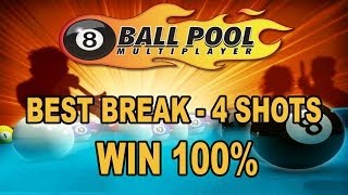 getlinkyoutube.com-8 ball Pool || BEST BREAK - 4 SHOTS WIN, 100% || gameplay - Miniclip 8 Ball Pool