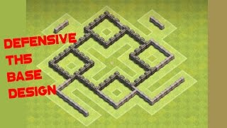 getlinkyoutube.com-Clash of Clans TH5 BEST Defensive Base Design Build Anti 3 STAR