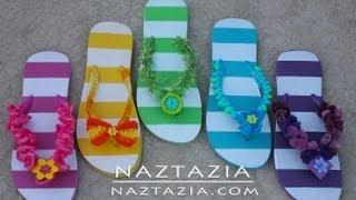 getlinkyoutube.com-DIY Learn How to Crochet - Flip Flops Sandals Shoes Beach with Beads, Ruffle Yarn, Pom Pom Yarn, Fur
